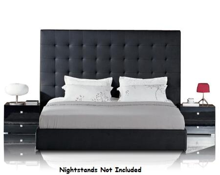 VIG Furniture VGJYLYRICA-BLK-S Modrest Lyrica - Black Leatherette Tall Headboard Bed with Storage