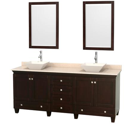 """Wyndham Collection Acclaim 80"""" Double Bathroom Vanity with 4 Doors, 6 Drawers, 2 Mirrors, Brushed Chrome Hardware, Ivory Marble Top and Pyra Bone Porcelain Sinks in"""