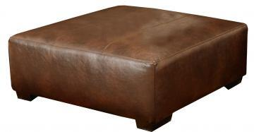 "Jackson Furniture Lawson Collection 4243-28- 51"" Cocktail Ottoman with Bonded Leather Upholstery, Block Feet and Decorative Stitching in"