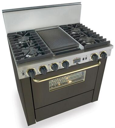 """FiveStar TPN3377SW 36"""" Dual Fuel Freestanding Range with Sealed Burner Cooktop, 3.69 cu. ft. Primary Oven Capacity, in Black with Brass"""