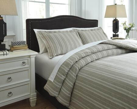 Signature Design by Ashley Navarre Q7450 3 PC King Size Duvet Cover Set includes 1 Duvet Cover and 2 Standard Shams with Striped Design, 200 Thread Count and Yarn-Dyed Cotton Material in Color