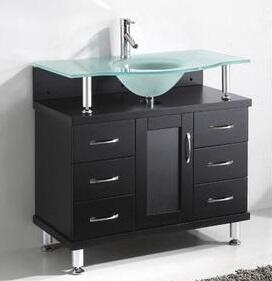 "Virtu USA Vincente 48"" MS-48-x-ES Single Sink Bathroom Vanity in Espresso Finish with Designer-glass Countertop Integrated Basin, 1 Door, 6 Doweled Drawers and Brushed Nickel Hardware"