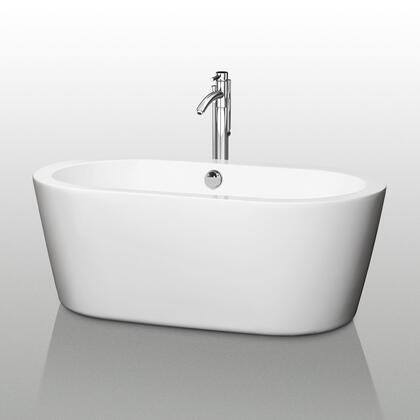 Wyndham Collection WCO-BT1003 Soho Soaking Bathtub, with Acrylic Construction, Cable-driven Pop-up Drain, Adjustable Base, and Overflow, in White