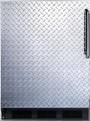 """AccuCold FF6BDXX 24"""" FF6 Series Medical Compact Refrigerator with 5.5 cu. ft. Capacity, Door Storage, Crisper, Glass Shelves and Left Hinge: Diamond Plated with Pro Towel Bar Handle"""