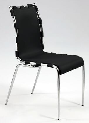 Chintaly VERA-SC-BLK Vera Series Modern Leather Metal Frame Dining Room Chair