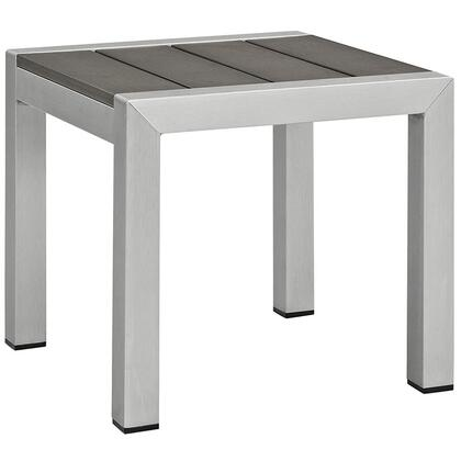 "Modway Shore Collection 15"" Outdoor Patio Side Table with Plastic Wood Accent Paneling, Anodized Aluminum Frame and Black Plastic Foot Caps in"