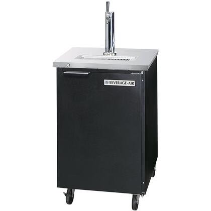 "Beverage-Air DD24-1 24"" One Section Direct Draw Beer Dispenser with Swing Solid Door, 7.8 cu.ft. Capacity, [Black] Exterior and Rear Mounted Compressor"