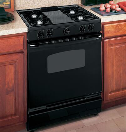 GE JGSS05DEMBB  Slide-in Gas Range with Open Burner Cooktop Broiler 4.5 cu. ft. Primary Oven Capacity