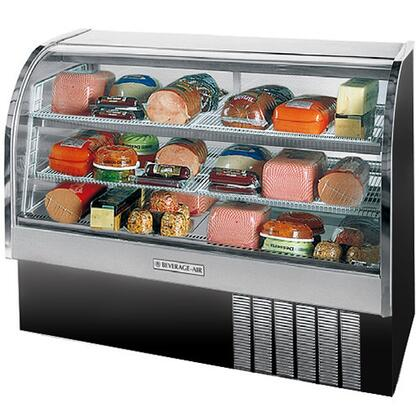 """Beverage-Air CDR5/1 One Section 61"""" Curved Glass Refrigerated Bakery Display Case, 22.9 cu.ft. Capacity, [Black] Exterior and Bottom Mounted Compressor"""