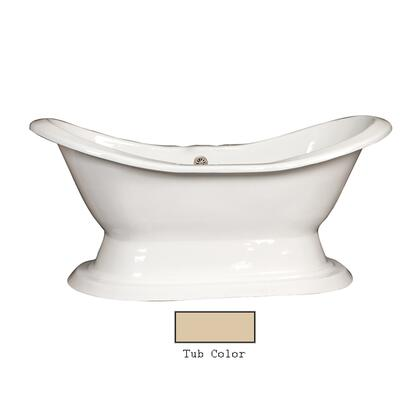"""Barclay CTDS7H72HB Percy 72"""" Cast Iron Double Slipper Tub with Cast Iron Pedestal and White Enamel Interior, in"""