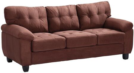 "Glory Furniture 78"" Sofa with Tufted Cushions, Pillow Top Arms, Tapered legs, Removable Backs and Suede Upholstery in"