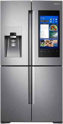 """Samsung RF22M9581Sx 36"""" French 4 Door Refrigerator with 22 cu. ft. Capacity, Family Hub, Food Management Camera, EZ Slide-Out Shelves, External Water and Ice Dispenser, in"""