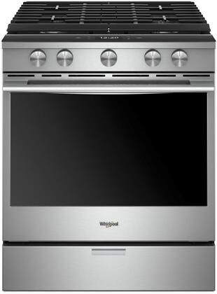Whirlpool WEGA50H0HX Range with 5.8 cu. ft. Capacity, Anti Fingerprint, Aqualift Tech, True Convection, 5 Burners and Wifi, in