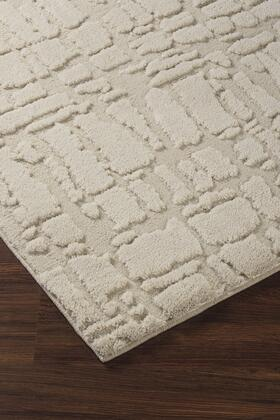 "Milo Italia Delaney RG433028TM "" x "" Size Rug with Abstract Design, Machine-Woven, 23mm Pile Height, Spot Clean Only and Polyester Material in Cream and Taupe Color"