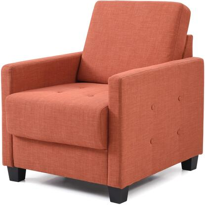 """Glory Furniture 28"""" Armchair with Button Tufting, Track Arms, Tapered Legs, Removable Back and Twill Fabric Upholstery in"""