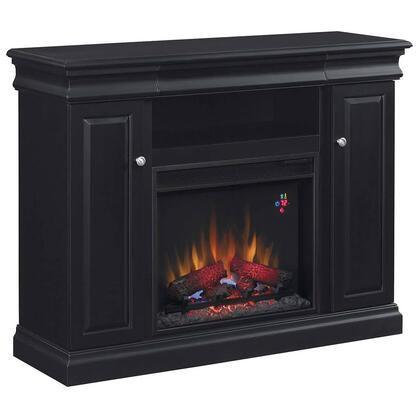 """Classic Flame 23MM9643 Louie 23"""" Media Cabinet Fireplace with 2 Door Side Storage, 3-Way Adjustable Concealed Euro Hinges, Brass Door Pulls and Adjustable Wood Shelves in"""