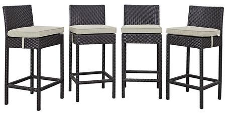 """Modway Convene EEI2218EXP 39.5"""" 4 PC Outdoor Patio Pub Set with Synthetic Rattan Weave Construction and All-Weather Fabric Cushions in Espresso Color"""