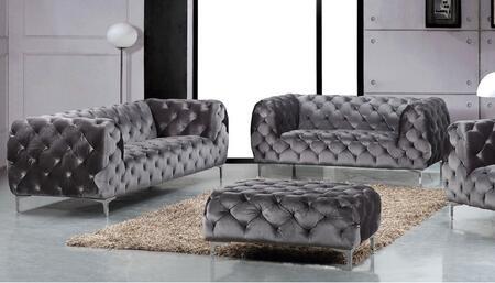Meridian 646GRYSL Mercer Living Room Sets