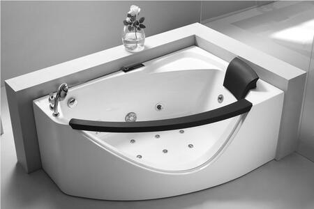 Eago AM198-X 5'Rounded Corner Whirlpool Bath Tub with Acrylic, 1 Person Capacity, Chromotherapy, Tempered Glass Panel, Ozone Disinfection Function, 1.2 HP Ultra Quiet Water Pump, Control Pane, Water Hydro massage Jets and Back Flow Preventer in White