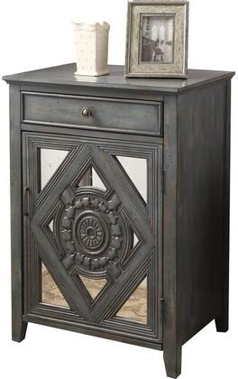 """Acme Furniture Vinita Collection 23"""" Side Table with 1 Drawer, 1 Mirrored Door, 1 Shelf Inside, Decorative Trim Inlay, Tapered Legs, Metal Hardware and Medium-Density Fiberboard (MDF) Frame in"""