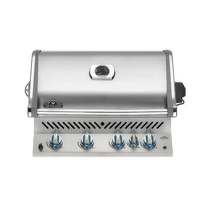 """Napoleon Prestige Pro Series BIPRO500RBXSS 30"""" Built-In Gas Grill With 760 Sq. In. Total Cooking Surface, Rear Infrared Burner, 66,000 BTUs, JetFire Ignition System, 4 Tube Burners, In Stainless Steel"""