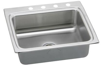 "Elkay LRADQ252265 Gourmet Lustertone Stainless Steel 25"" x 22"" Single Basin Top Mount Kitchen Sink with 6-1/2"" Depth and Quick-Clip Mounting System:"