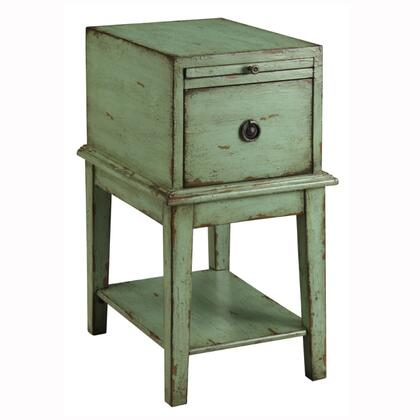 """Coast to Coast 3962 14"""" Chairside Chest with Open Shelf, Single Drawer, Decorative Pull, Pullout Tray, and Tapered Legs in a Weathered and distressed X Finish"""