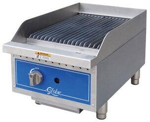 Globe GCBXX Countertop Char Rock Charbroiler with up to 40,000 BTUs, U-Style Burners, and Liquid Propane Conversion Kit in Stainless Steel