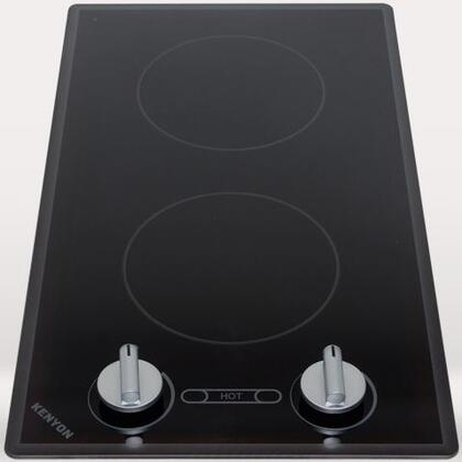 "Kenyon B4171 21"" Cortez Series Electric Cooktop with 2 Burners, Heat Limiting Surface Protectors, ""On"" and ""Hot"" Burner Indicator Lights and Stainless Steel Colored Knobs, in Black"