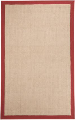 Signature Design by Ashley Ebenezer R40004x X Size Rug with Natural Fiber Solid, Hand-Woven, Jute and Cotton Material and  Backed with Cotton in Tan Color with Red Border
