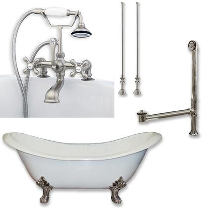 "Cambridge DES463D2PKGXX7DH Cast Iron Double Ended Slipper Tub 71"" x 30"" with 7"" Deck Mount Faucet Drillings and Complete Plumbing Package"