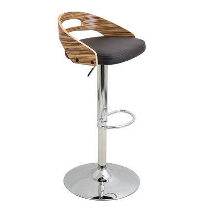 "LumiSource Cassis BS-CASS 32"" - 37"" Barstool with 360 Degree Swivel, Low-Profile Bent Wood Back and PU Leather Upholstery in"