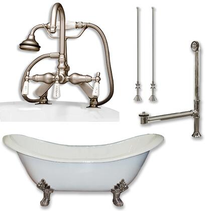 "Cambridge DES684DPKGXX7DH Cast Iron Double Ended Slipper Tub 71"" x 30"" with 7"" Deck Mount Faucet Drillings and English Telephone Style Faucet Complete Plumbing Package"