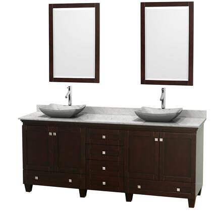 "Wyndham Collection Acclaim 80"" Double Bathroom Vanity with 4 Doors, 6 Drawers, 2 Mirrors, Brushed Chrome Hardware, White Carrera Marble Top and Avalon White Carrera Marble Sinks in"