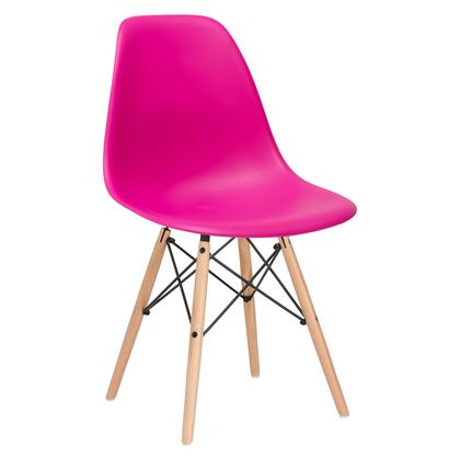 """EdgeMod Vortex Collection 21"""" Side Chair with Plastic Non-Marking Feet, Beech Wood Tapered Legs and Polypropylene Plastic Seat"""
