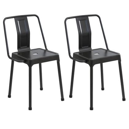 "LumiSource Energy CH-CF-ENRG Set of (2) 30"" Chair with Slat Back Design, Solid Metal Frame and Floor Glides in"