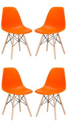 EdgeMod EM105NATORAX4 Vortex Series Modern Wood Frame Dining Room Chair