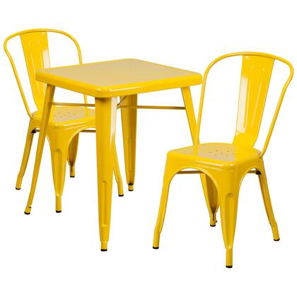 Flash Furniture CH31330230GG Yellow Metal Indoor-Outdoor Table Set with 2 Stack Chairs