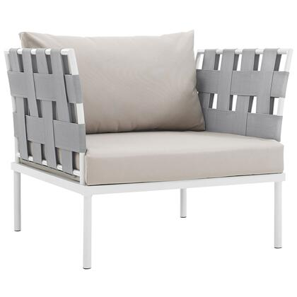 "Modway Harmony Collection EEI-2602-WHI- 33"" Outdoor Patio Armchair with White Aluminum Frame, Silk Polyester Weave Back & Arms and All-Weather Canvas Fabric Cushions in"