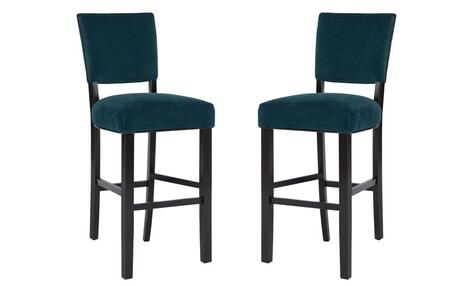 Powell Raya Collection 15BO7165XSX Set of (2) Stools with Fabric Upholstery, Straight Legs and Stretchers in Sea Grass