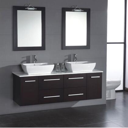 "Cambridge 8113X 63"" Solid Espresso Wood & Porcelain Double Sink Vanity Set with Faucets"