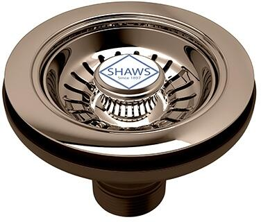 Rohl 734 Shaws Manual Basket Strainer without Remote Pop-Up with Shaws Logo Branded White Porcelain Pull Knob in