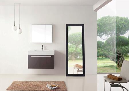 Virtu USA JS-50136-XX-001 Modern 36 Single Sink Bathroom Vanity Set with Brushed Nickel Faucet in