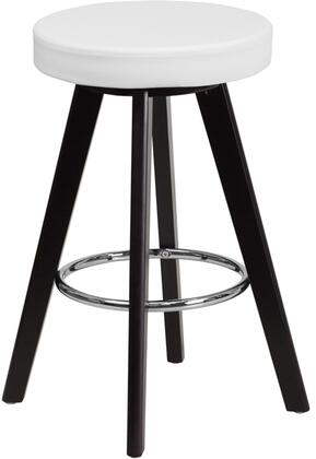 "Flash Furniture Trenton Collection CH-15260"" Bar Stool with Chrome Footring, Cappuccino Wood Finish, Protective Floor Glides and Vinyl Upholstery in White Color"