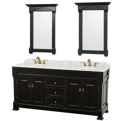 Wyndham Collection WCVTD72 Dual Vanity Set with Oak Hardwood, Porcelain Undermount Sinks, 3-Hole Faucet Mount, Backsplash, 4 Doors, 3 Drawers & Matching Mirrors in