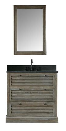 """Legion Furniture WN7236+ 37"""" Solid Elm Sink Vanity with Mirror, Natural Moon Stone Top, Two Drawers and Oil Rubbed Bronze Faucet in Brushed Natural"""