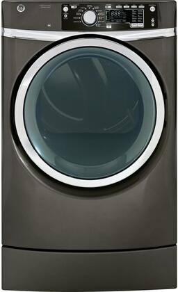 GE GFDR485EF 8.3 Cu. Ft. Electric Dryer with Built-In Riser,Dryer Rack, Detangle Assist, Steam Refresh, Steam Dewrinkle, LED light, Stainless Steel Drum, HE Sensor Dry, eMonitor in