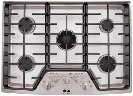"LG Studio LSCG3X6ST XX"" Gas Cooktop, 5 Sealed Burners, 3 Continuous Heavy-Duty Cast Iron Grates, Electronic Ignition, Dual Stacked Center Burner, In Stainless Steel"