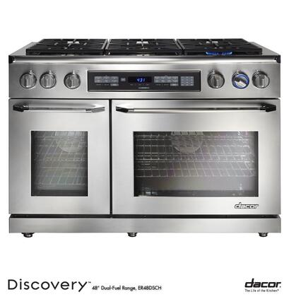 """Dacor ER48DSC 48"""" Freestanding Dual Fuel Range with 6 Sealed Gas Burners, High Altitude, 2.6/4.6 cu. ft. Self-Cleaning Convection Ovens: Stainless Steel with Chrome Trim"""