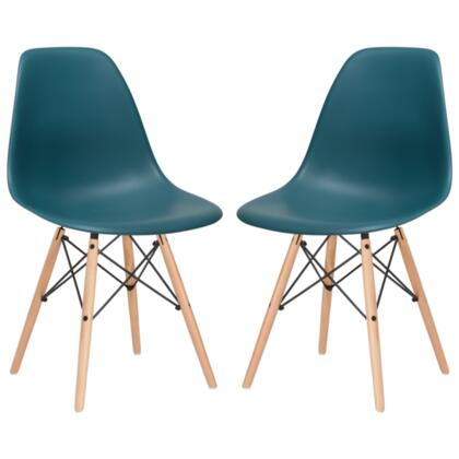 "EdgeMod Vortex Collection 21"" Set of 2 Side Chairs with Plastic Non-Marking Feet, Beech Wood Tapered Legs and Polypropylene Plastic Seat"